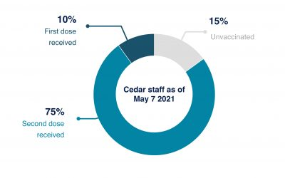 High vaccine uptake among Cedar staff. 85% have received at least one dose.